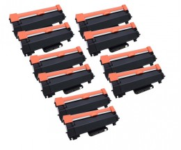 10 Cartuchos de Toner Compatibles, Brother TN-2410 / TN-2420 Negro ~ 3.000 Paginas