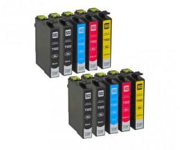 10 Cartuchos de Tinta Compatibles, Epson T02W1 - T02W4 / 502XL Negro 9.2ml + Colores 6.4ml