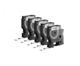 5 Cintas Compatibles, DYMO 45013 Negro / Blanco 12mm x 7m