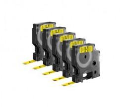 5 Cintas Compatibles, DYMO 40918 Amarillo 9mm x 7m