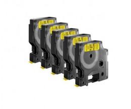 5 Cintas Compatibles, DYMO 45808 Amarillo 19mm x 7m