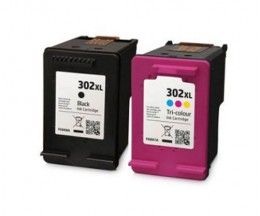 2 Cartuchos de Tinta Compatibles, HP 302 XL Negro 20ml + Colores 18ml