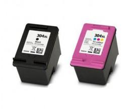 2 Cartuchos de tinta Compatibles, HP 304 XL Negro 20ml + Colores 18ml