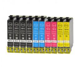 10 Cartuchos de tinta Compatibles, Epson T1811-T1814 / 18 XL Negro 17ml + Colores 13ml