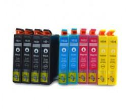 10 Cartuchos de tinta Compatibles, Epson T1631-T1634 / 16XL Negro 17ml + Colores 11.6ml