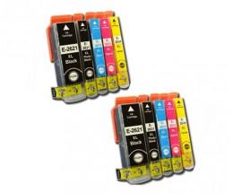 10 Cartuchos de tinta Compatibles, Epson T2621 / 26 XL Negro 26ml + T2631-T2634 Colores 13ml