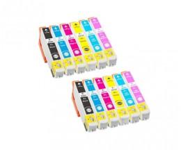 12 Cartuchos de tinta Compatibles, Epson T2431-T2436 / 24 XL Negro 13ml + Colores 13ml