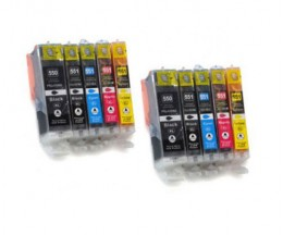 10 Cartuchos de tinta Compatibles, Canon PGI-550 XL / CLI-551 Negro 22ml + Colores 13ml