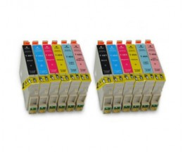 12 Cartuchos de tinta Compatibles, Epson T0481-T0486 Negro 18ml + Colores 18ml