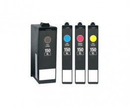 4 Cartuchos de tinta Compatibles, Lexmark 150 XL Negro 35ml + Colores 18ml