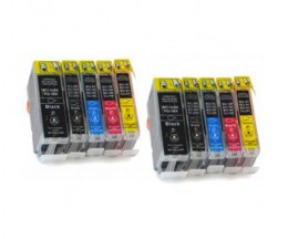 10 Cartuchos de tinta Compatibles, Canon BCI-3 / BCI-6 Negro 26.8ml + Colores 13.4ml
