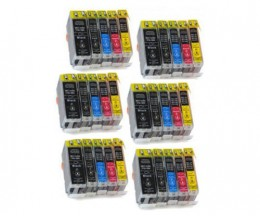 30 Cartuchos de tinta Compatibles, Canon BCI-3 / BCI-6 Negro 26.8ml + Colores 13.4ml