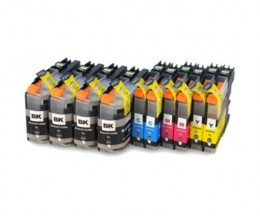 10 Cartuchos de tinta Compatibles, Brother LC-121 / LC-123 Negro 20.6ml + Colores 10ml