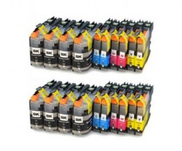 20 Cartuchos de tinta Compatibles, Brother LC-121 / LC-123 Negro 20.6ml + Colores 10ml