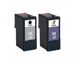 2 Cartuchos de tinta Compatibles, Lexmark 23 XL Negro 21ml + Lexmark 24 XL Colores 15ml