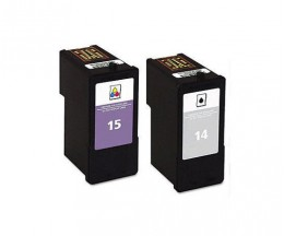 2 Cartuchos de tinta Compatibles, Lexmark 14 Negro 21ml + Lexmark 15 Colores 15ml