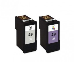 2 Cartuchos de tinta Compatibles, Lexmark 28 XL Negro 21ml + Lexmark 29 XL Colores 15ml
