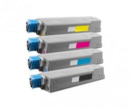 4 Cartuchos de Toneres Compatibles, OKI 4431530X Negro + Colores ~ 8.000 / 6.000 Paginas