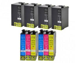 10 Cartuchos de tinta Compatibles, Epson T2701-T2704 / T2711-T2714 / 27 XL Negro 22.4ml + Colores 15ml