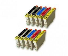 10 Cartuchos de tinta Compatibles, Epson T0611-T0614 Negro 17ml + Colores 15ml