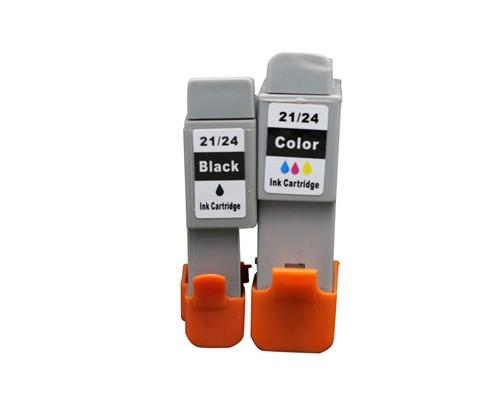 2 Cartuchos de tinta Compatibles, Canon BCI-21 / BCI-24 Negro 9.2ml + Colores 12.6ml