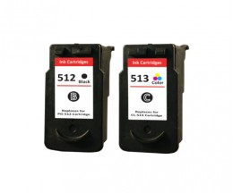 2 Cartuchos de tinta Compatibles, Canon PG-510 / PG-512 Negro 16ml + CL-511 / CL-513 Colores 14.5ml