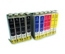 10 Cartuchos de tinta Compatibles, Epson T0711-T0714 Negro 13ml + Colores 13ml