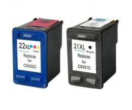2 Cartuchos de tinta Compatibles, HP 21 XL Negro 22ml + HP 22 XL Colores 16ml