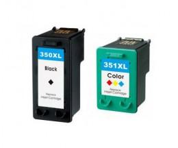 2 Cartuchos de tinta Compatibles, HP 351 XL Colores 18ml + HP 350 XL Negro 25ml