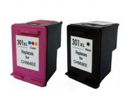 2 Cartuchos de tinta Compatibles, HP 301 XL Negro 20ml + Colores 17ml