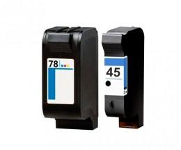 2 Cartuchos de tinta Compatibles, HP 78 Colores 39ml + HP 45 Negro 40ml