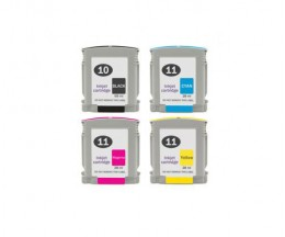4 Cartuchos de Tinta Compatibles, HP 10 Negro + HP 11 Colores 28ml