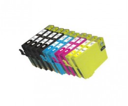 10 Cartuchos de tinta Compatibles, Epson T1291-T1294 Negro 15ml + Colores 13ml
