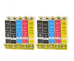 10 Cartuchos de tinta Compatibles, Epson T1281-T1284 Negro 13ml + Colores 6.6ml