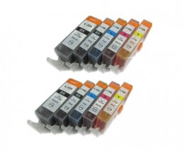 10 Cartuchos de tinta Compatibles, Canon PGI-525 / CLI-526 Negro 19.4ml + Colores 9ml