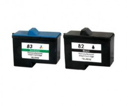 2 Cartuchos de tinta Compatibles, Lexmark 82 Negro 21ml + Lexmark 83 Colores 15ml