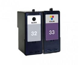 2 Cartuchos de tinta Compatibles, Lexmark 33 Colores 15ml + Lexmark 32 Negro 21ml