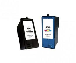 2 Cartuchos de tinta Compatibles, DELL M4646 Colores 15ml + M4640 Negro 21ml