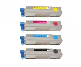 4 Cartuchos de Toneres Compatibles, OKI 43324408 Negro + 4338190X Colores ~ 6.000 / 2.000 Paginas