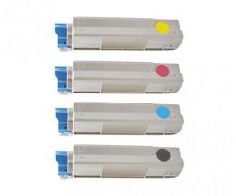 4 Cartuchos de Toneres Compatibles, OKI 43865708 Negro + 4387230X Colores ~ 8.000 / 2.000 Paginas