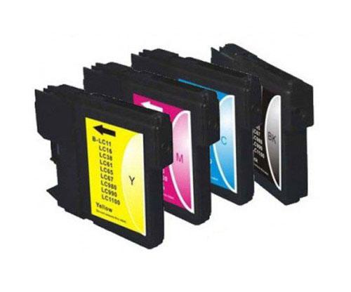 4 Cartuchos de tinta Compatibles, Brother LC-980 XL / LC-1100 XL Negro 28ml + Colores 18ml