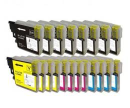 20 Cartuchos de tinta Compatibles, Brother LC-985 XL Negro 28ml + Colores 18ml