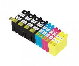 10 Cartuchos de tinta Compatibles, Epson T1301-T1304 Negro 33ml + Colores 14ml