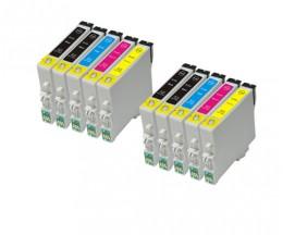 10 Cartuchos de tinta Compatibles, Epson T0441-T0444 Negro 17ml + Colores 17ml