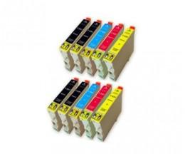 10 Cartuchos de tinta Compatibles, Epson T0551-T0554 Negro 17ml + Colores 16ml