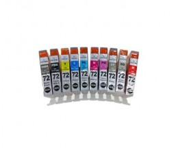 10 Cartuchos de Tinta Compatibles, Canon PGI-72 Negro + Colores 14ml