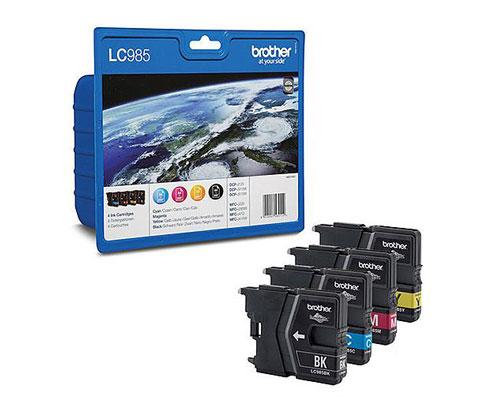 4 Cartuchos de tinta Originales, Brother LC985BK / LC985M / LC985C / LC985Y Negro 9ml + Colores 5ml