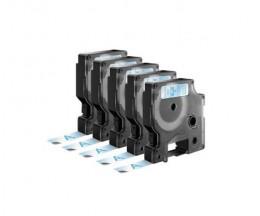 5 Cintas Compatibles, DYMO 45011 AZUL / TRANSPARENTE 12mm x 7m