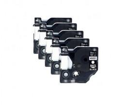 5 Cintas Compatibles, DYMO 45021 NEGRO / BLANCO 12mm x 7m