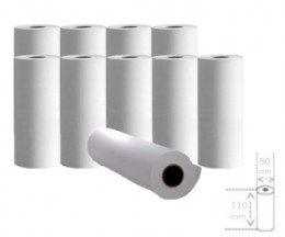 10 Rollos de Papel Térmico 110x50x11mm